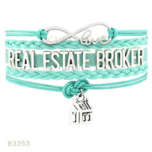 (10 PCS/Lot) Infinity Love Real Estate Broker House Charm Gifts Bracelet For Women Black Turquoises Pink Leather Custom Jewelry
