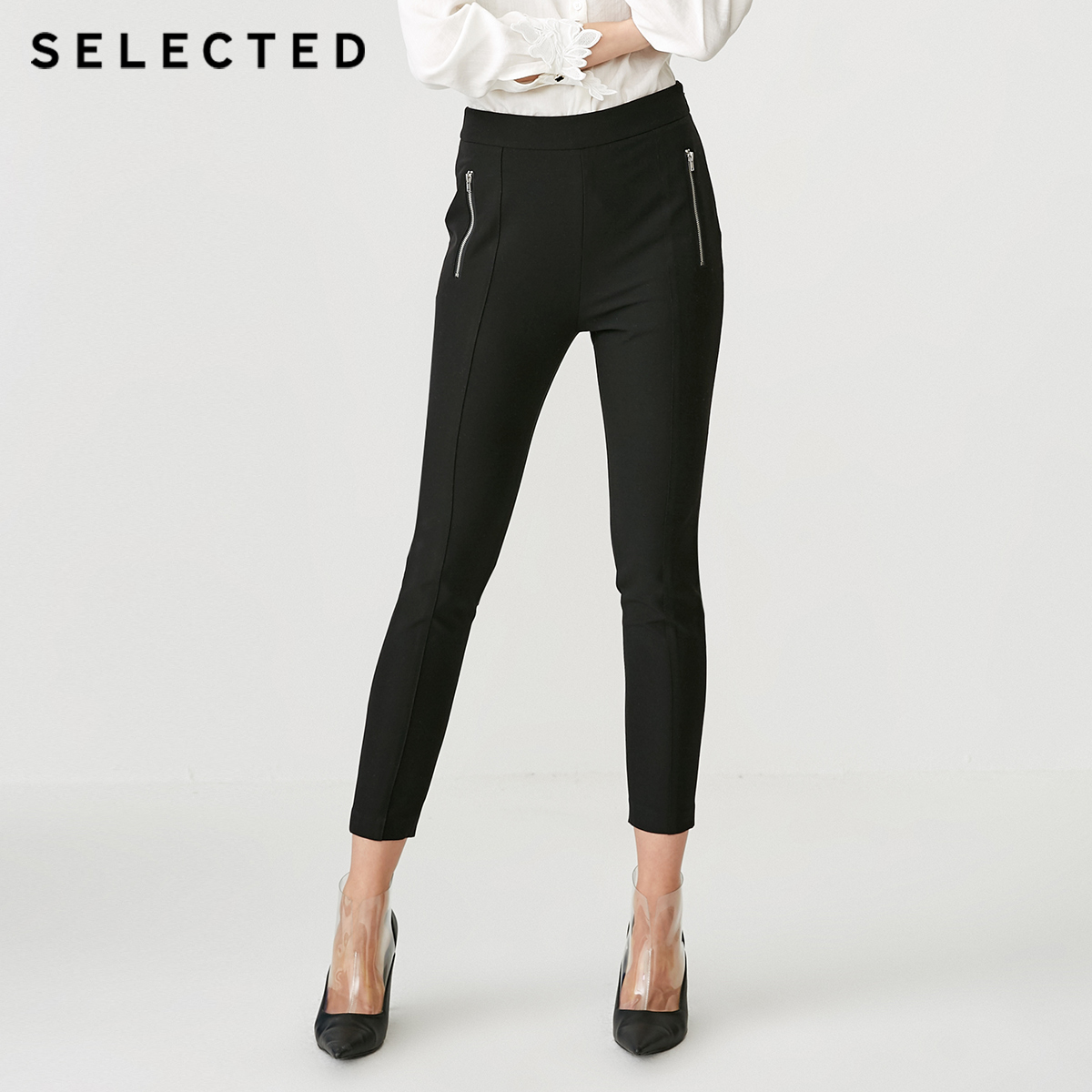 SELECTED Women's Slim Fit Black Stretch Crop Pants S|418414521