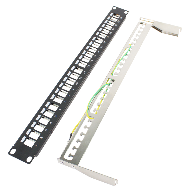 BELNET FTP 24 Port Unload Modular Blank Patch Panel - Incl. cable manager bar & front panel with label field