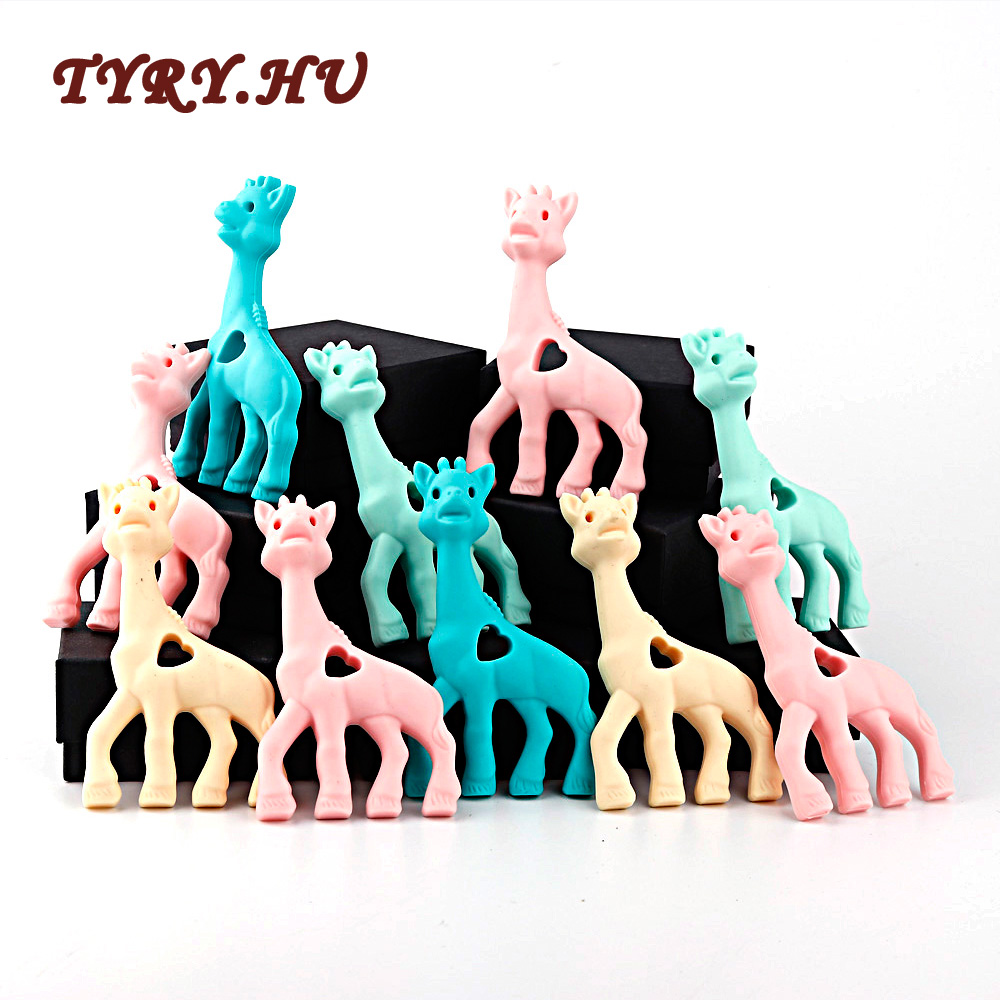TYRY.HU Silicone Teether Giraffe Toy BPA Free Silicone Teether Beads Baby Teething Pendant For Baby Teething Necklace 1pcs