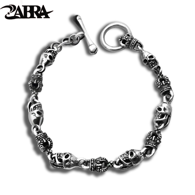 ZABRA Luxury 925 Silver Bracelets Men Vintage Punk Crown Mens Skull Bracelet Biker Gothic Sterling Silver Jewelry Erkek Bileklik 925 sterling silver bracelets for men skull bracelet vintage punk rock gothic bague fashion men cool exaggerated fine jewelry
