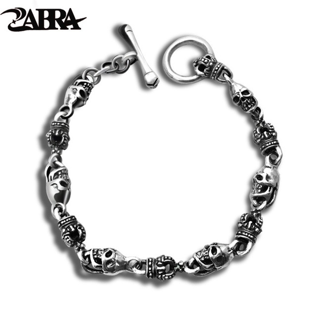 Zabra Luxury 925 Silver Bracelets Men Vintage Punk Crown Mens Skull Bracelet Biker Gothic Sterling