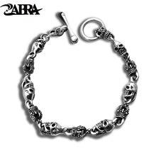 ZABRA Luxury 925 Silver Bracelets Men Vintage Punk Crown Mens Skull Bracelet Biker Gothic Sterling Silver Jewelry Erkek Bileklik