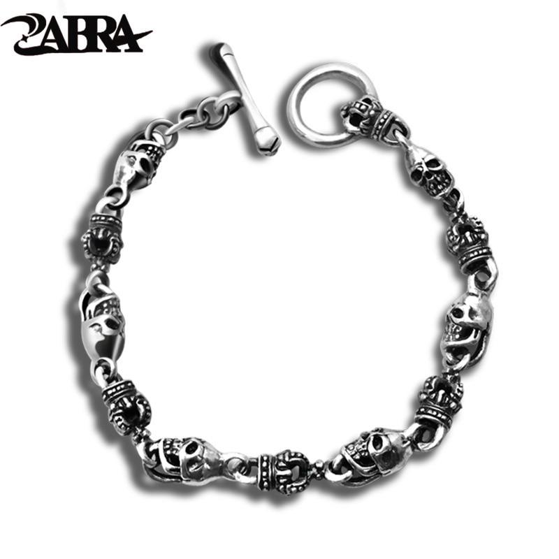 ZABRA luxe 925 argent Bracelets hommes Vintage Punk couronne hommes crâne Bracelet Biker gothique en argent Sterling bijoux Erkek Bileklik