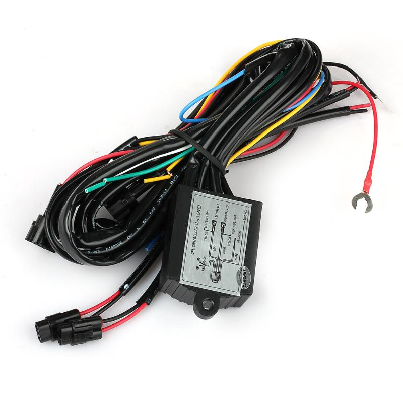 CARCHET DRL Daytime Running LED Light Relay Harness Control On Off Dimmer Car Running Lights Lights