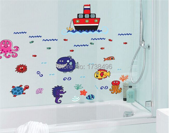 Carton Removable Nursery School Kindergarten Decoration Wallpaper Sea World  Kids Room Bathroom Background Wall Stickers DF5094 Part 61