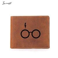 Vintage Harry Potter Glasses Bi Fold Leather Wallet Men Coin Bag Custom Name Wallet Gifts Multi