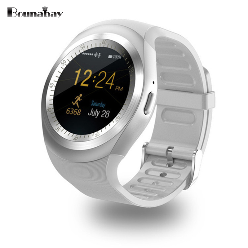 BOUNABAY Heart Rate Pedometer Bluetooth 4.0 woman Smart watch for apple android phone Multi-lingual Clock Touch ladies Clocks