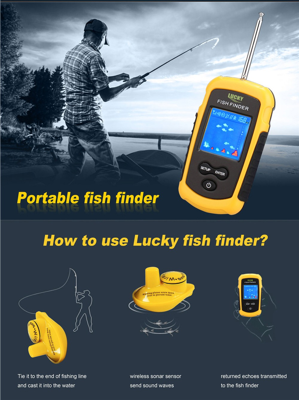 wireless sonar portable fishfinder sonar fish finder wired lcd, Fish Finder