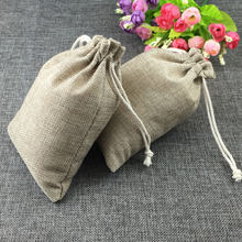 15x20cm fashion natural gifts jute bag Cotton thread Drawstring bags jewelry Packaging Display for Wedding/Party/Birthday pouch(China)