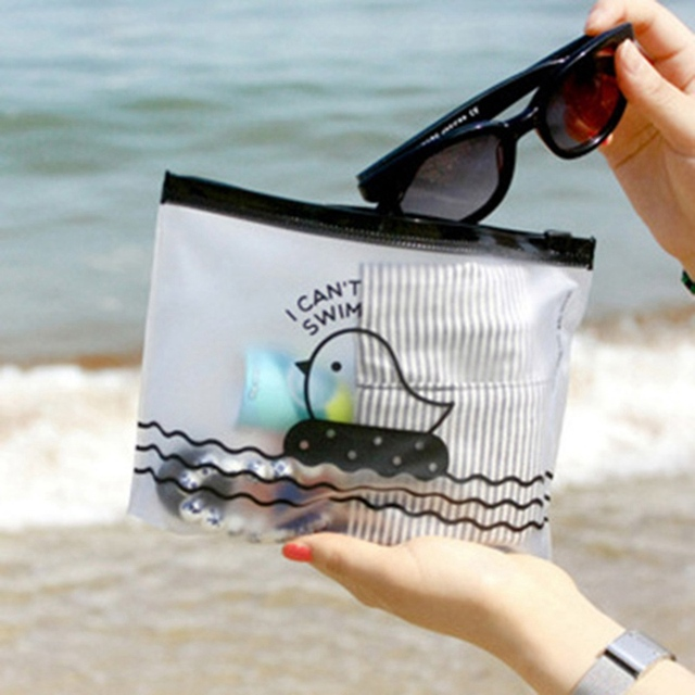 1 pcs Cute Chicken Semi-Transparent PVC Travel Make Up Cosmetic Storage Bags Pencil Case Bag Home Office Storage Pen Holders