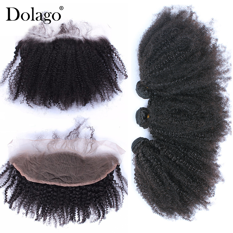 Mongolian Virgin Afro Kinky Curly Weave Human Hair Bundles With Lace Frontal Closure Dolago Products