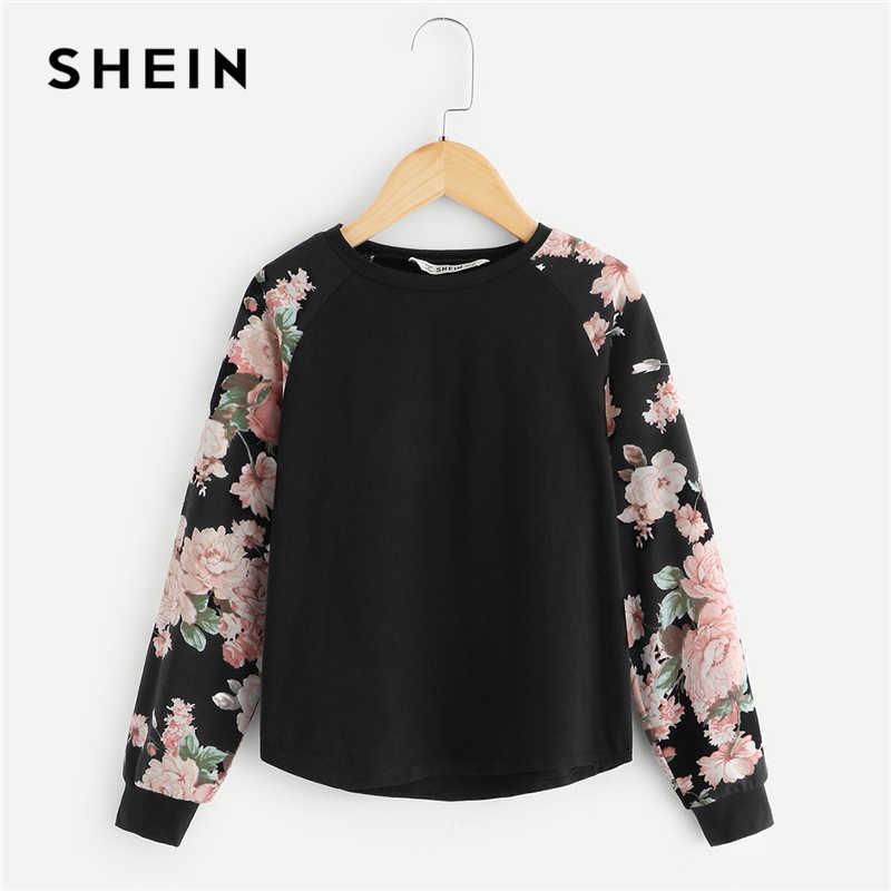 e6c38ad96e SHEIN Kiddie Girls Black Floral Print Casual T-Shirt Children Clothing 2019  Spring Fashion Long