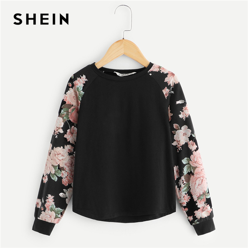 SHEIN Kiddie Girls Black Floral Print Casual T-Shirt Children Clothing 2019 Spring Fashion Long Sleeve Kids Tees Girls Tops simple style women s long sleeve round neck letter print sweatshirt