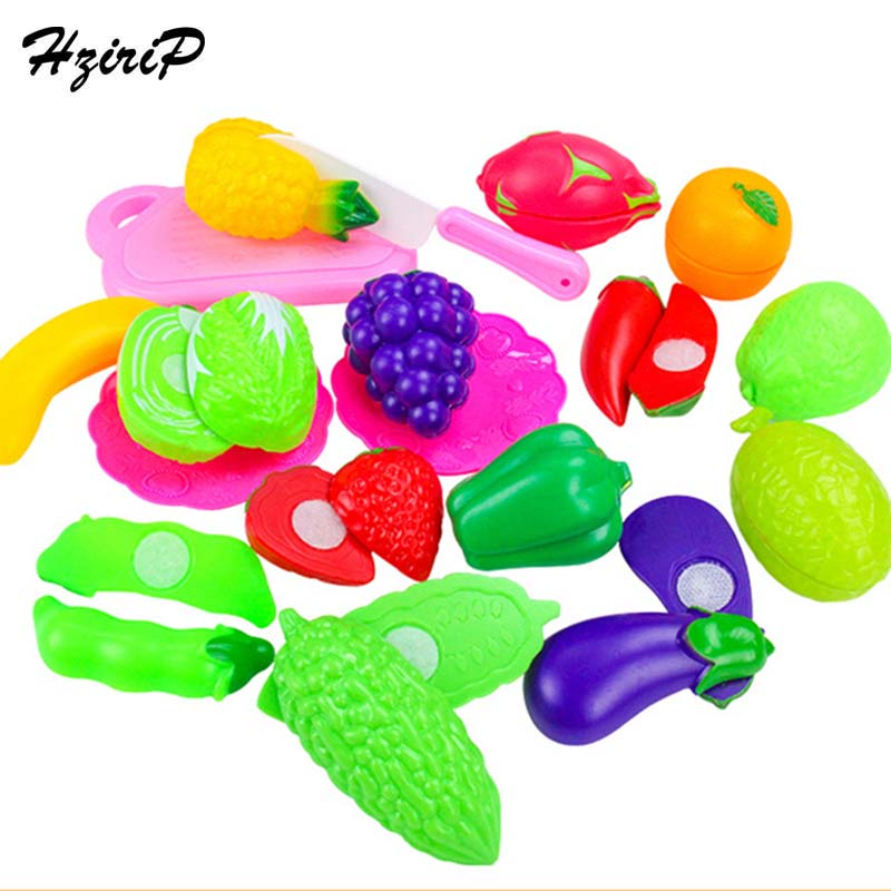 HziriP Retail Colorful Food Cut Vegetables Toy 18PCS Plastic Fruit Food Educational Toys Kitchen Pretend Play Sets For Kids Gift