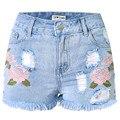 Foremode mujeres shorts denim jeans vaqueros de las mujeres floral bordado pantalones cortos de mezclilla borla casual jeans rasgados pantalones de mezclilla