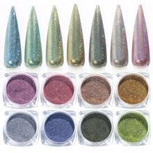 1g Holographic Nail Glitter Powder Laser Dipping Powder Nails Art Gradient Shiny Holo Pigment Chorme Polish Dust Flakes TR1028
