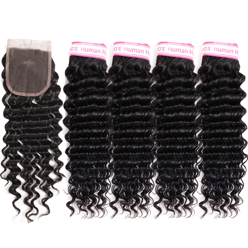 Rcmei Brazilian Deep Wave 4 Bundles With Closure Human Hair Bundles With Lace Closure Non Remy Hair Weave Extensions Can Be Dyed
