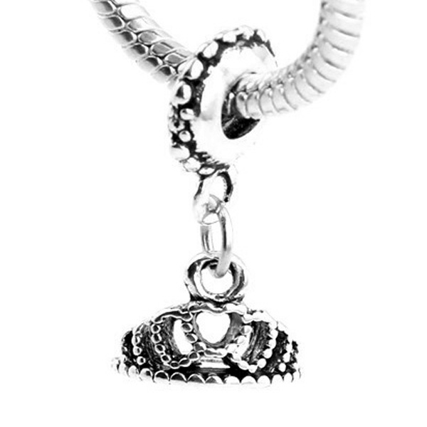 For Women DIY Jewelry Making Fit Pandora Bracelet Bangle Fashion Jewelry Silver Plated Charms Princess Royal Crown Pendant Beads