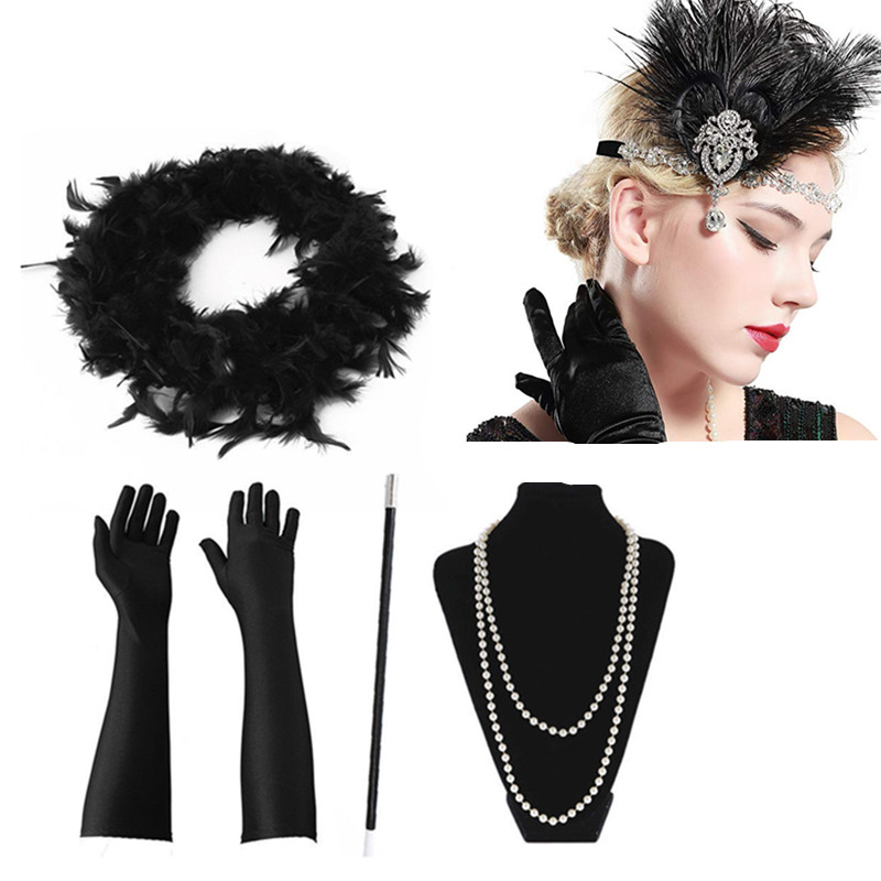 Women's Feather Boa Headbands Cosplay Christmas Necklace Gloves 5pcs Great GATSBY Vintage Accessory Partywear Costume Headwear