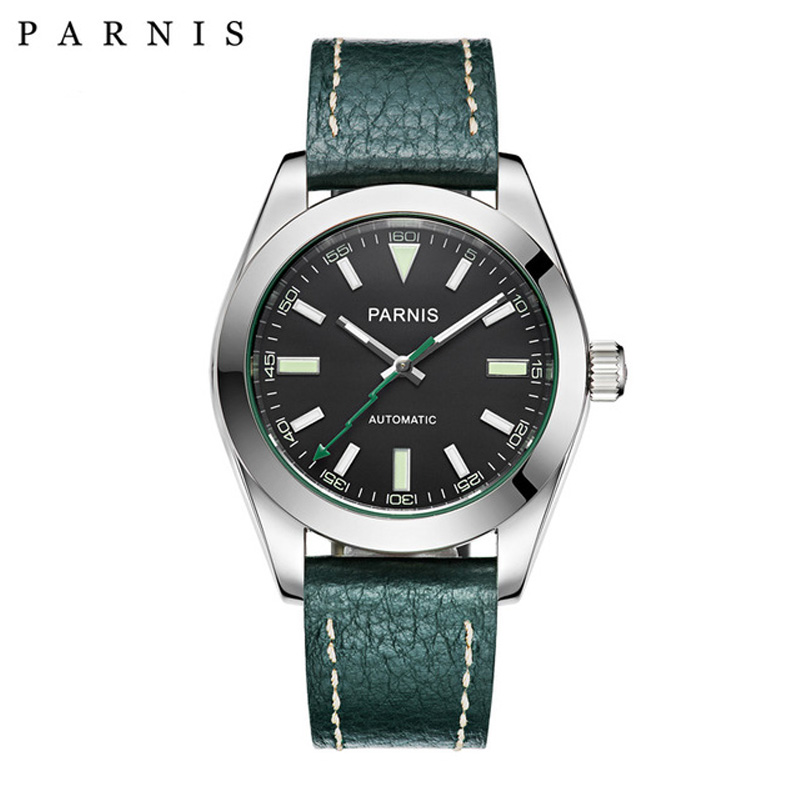 40mm Parnis Watch Mechanical Sapphire Crystal Casual Leather Miyota 8215 Men s Automatic Watch New Arrival