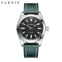 40mm Parnis שעון מכאני ספיר קריסטל מקרית עור Miyota 8215 גברים אוטומטי שעון חדש הגעה 2018 PA2107