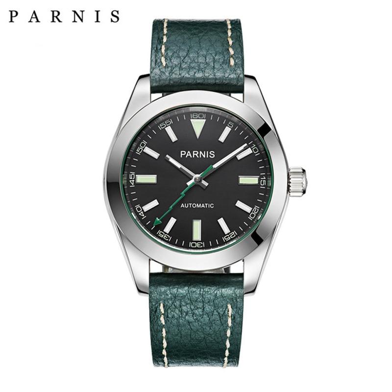 40mm Parnis Uhr Mechanische Sapphire Kristall Casual Leder Miyota 8215 männer Automatische Uhr Neue Ankunft 2018 PA2107-in Mechanische Uhren aus Uhren bei title=
