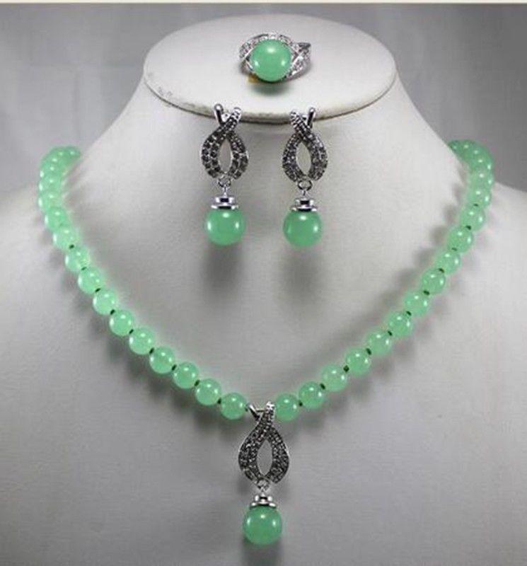 Fashion Women'S Precious jade gem Necklace Earring Ring(7/8/9)Jewelry Set