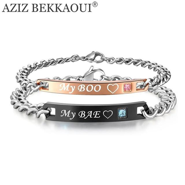 Drop Shipping My Boo Bae Named Bracelets For Women Men Matching Crystal