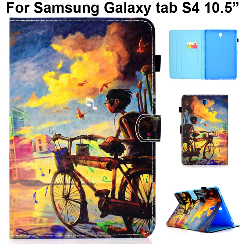 Cute Case Business Cover For Samsung Galaxy Tab S4 10.5 Sleeve With Bicycle Boy Butterfly Beach Pineapple Elephant Painting Bag