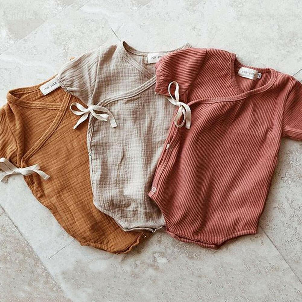 Summer Baby Boy Girls Romper Solid Color Short Sleeve Playsuit Jumpsuit Sunsuit Clothes Outfits for 0 18M Newborn Infant  Kids