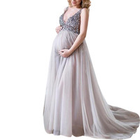 Women Pregnant Dresses Sexy Sling V Neck Sequin Cocktail Long Maxi Prom Gown Dress ropa Embarazada Pregnancy Dress Summer