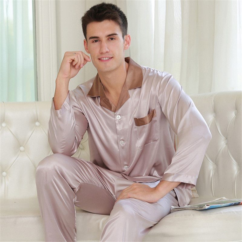 Sexy Faux Silk Men Pajamas Fashion Simple Ice Silk Sleepwear Male Pure Color Long-Sleeve Pyjama Pants Sets Two-Pieces 5326