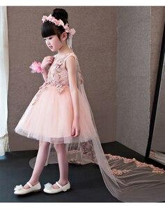 Image 3 - Çiçek Kız Elbise Glizt Pembe Dantel Aplikler Kızlar gelinlik Firar Prenses Elbiseler Çocuklar Kostüm Çocuk yaz giysileri