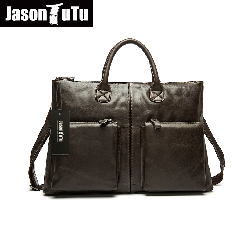ФОТО JASON TUTU laptop handbag high quality Genuine Leather Briefcase purses and handbags Vintage messenger bag men leather HN118