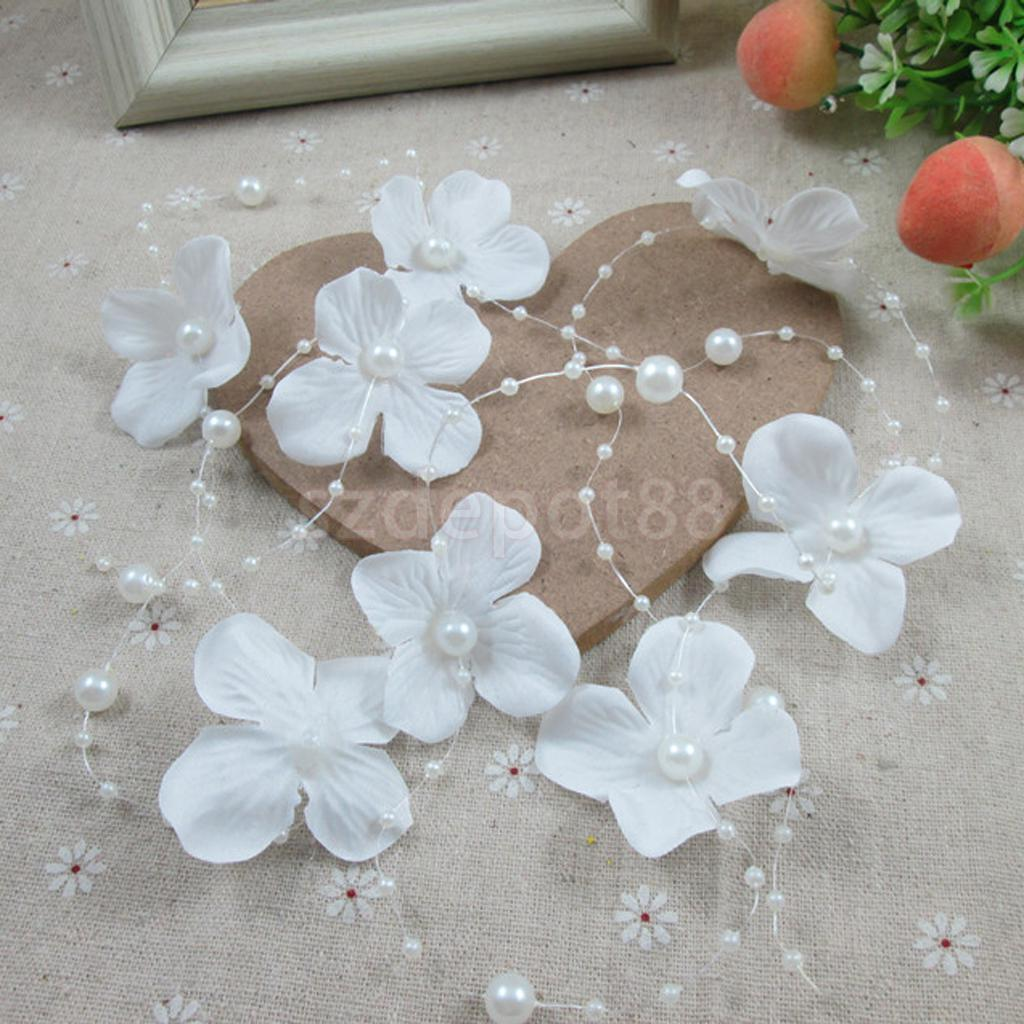 Wedding Bridal Hair Accessories Pearl Fabric Flower Hair Clip Headband
