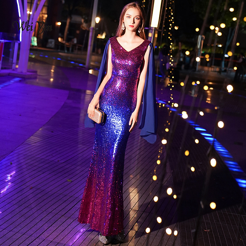 weiyin Blue Purple   Evening     Dresses   Long 2018 Sexy V-neck Sleeveless Sparkle Mermaid Sequin   Evening     Dresses   Gowns WY940