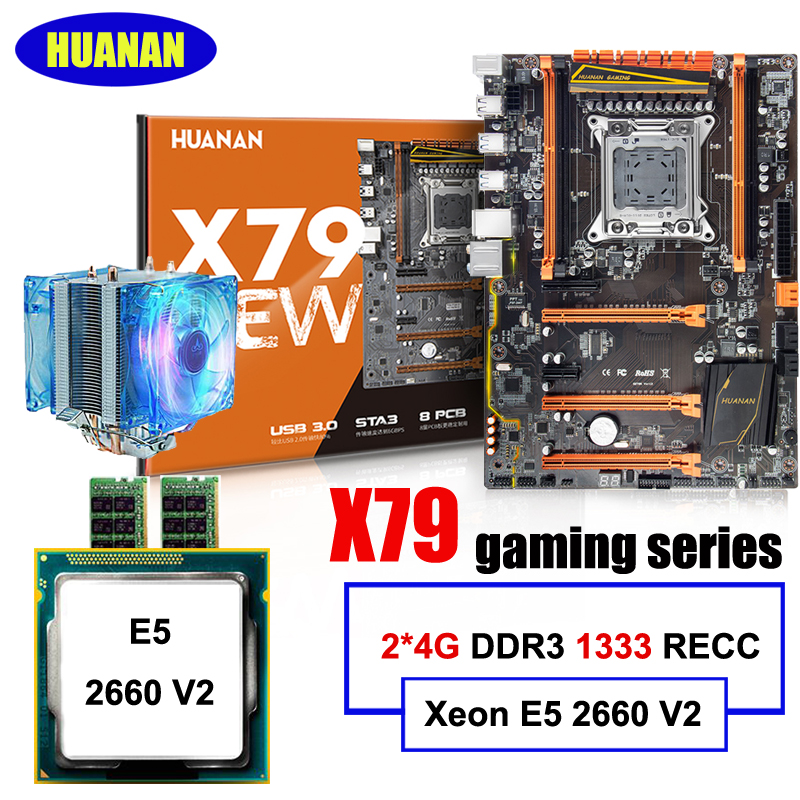 HUANAN deluxe X79 motherboard CPU RAM cooler set X79 LGA2011 motherboard CPU Xeon E5 2660 V2 RAM 8G(2*4G) DDR3 RECC all tested ram 399u