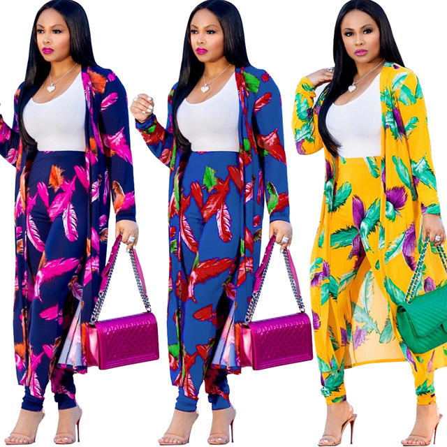 3 Piece Set Women Bohemian Trouser Suits Long Cardigan Crop Top and Pants  Matching Set 3 Piece Outfits Autumn Women Set 2018 d9816d04b