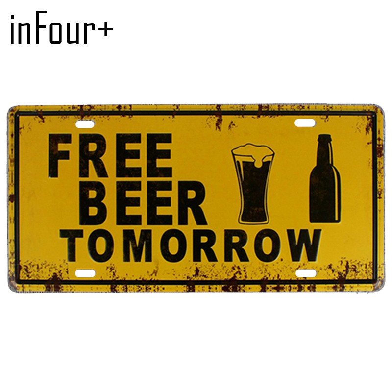 [inFour+] New Free Beer Plate Metal Plate Car Number Tin Sign Bar Pub Cafe Home Decor Metal Sign Garage Painting Plaques Sign