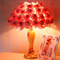 Europe Romantic Fashion Fabric Pink Roses Resin Led E27 Table Lamp for Wedding Decor Bedroom Bedside Bar Lamp AC 80-265V 1532