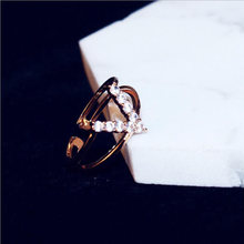 Женское Двухслойное кольцо из розового золота с фианитом