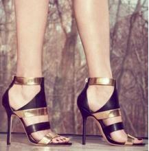 Hot Sexy Gladiator  Mixed Colour Genuine Leather Peep Toe Shoes Cross-tied Back Strap Women  Shoe Thin Heels Zip Women's Sandals стоимость