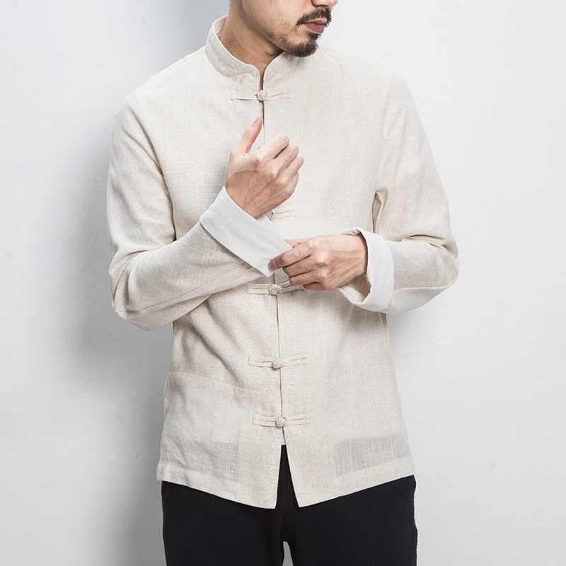 4fd4802968 MR-DONOO Chinese Style Men Long Sleeve Casual Embroidery Shirt Cotton Linen  Mandarin Collar Shirt