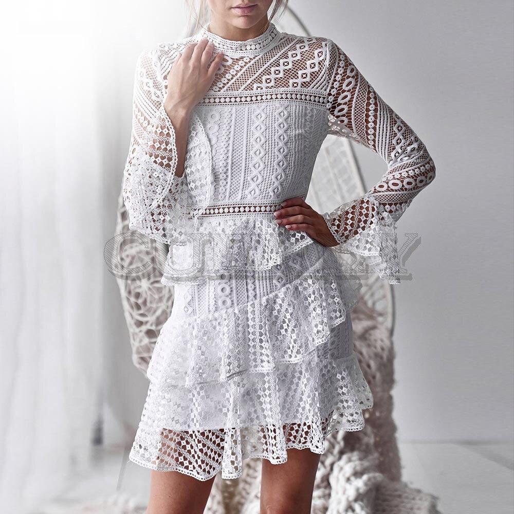 Mignon évider Double couche robe à manches longues blanc dentelle robe femmes 2019 automne décontracté Sexy broderie robe Vestidos L8