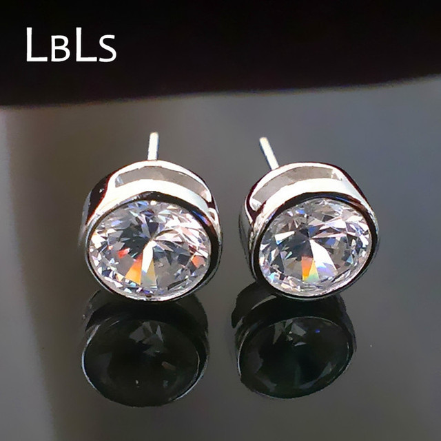 Stud Earrings Real Pure 925 Sterling Silver Men Jewelry Earring Studs Size 4mm 6mm 7mm Ss0006