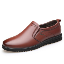 2019 high quality natural top layer cowhide new men's casual shoes famous brand round head soft bottom wear father shoes men