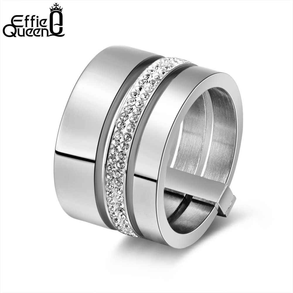 c29578c8ddff Effie reina 15mm 3 capas anillos 316L de acero inoxidable de mujer anillo  de compromiso de