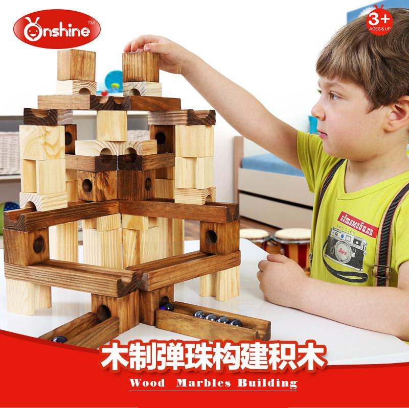wooden pipe building blocks of the track ball toy Toys Model Building Kits Assembly blocks Kids