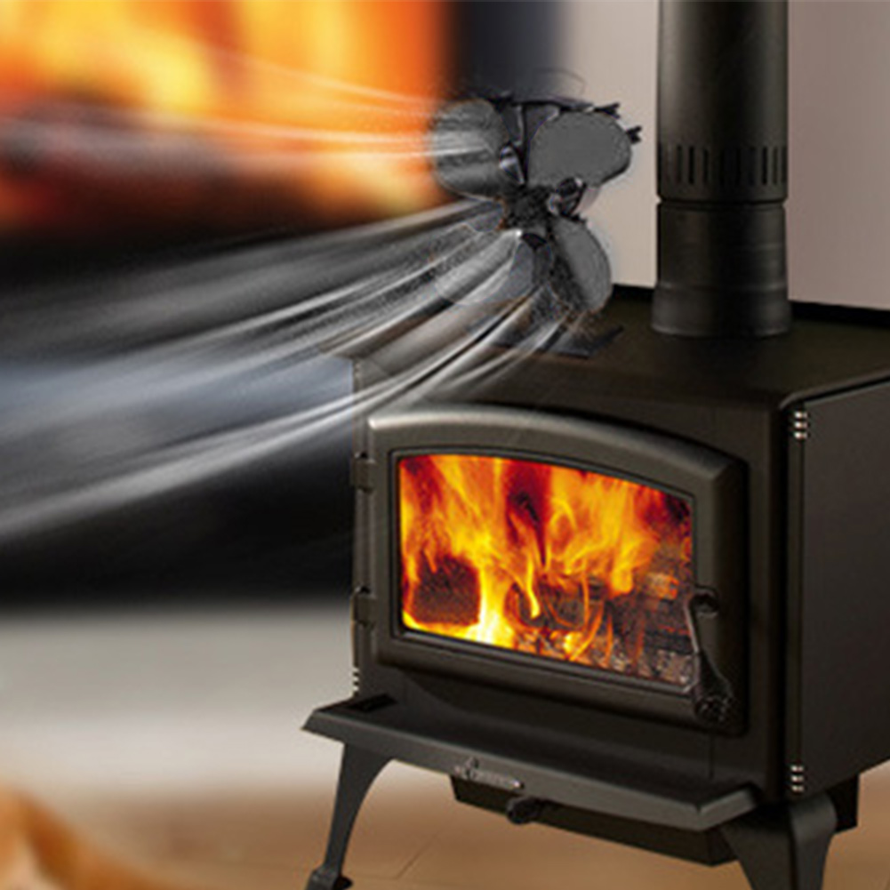 Smoke Free Eco Friendly Wood Stoves 4 Blades Blower Home Fireplace